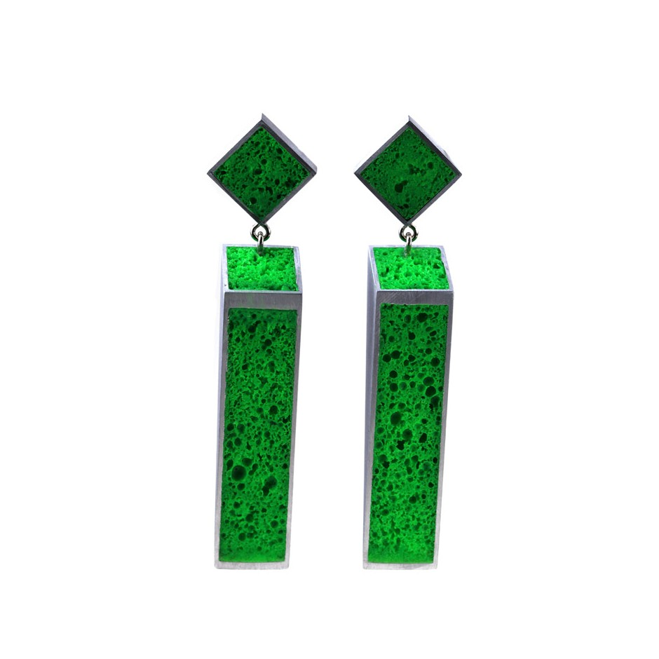 Guido Angeletti 31A - Earrings - Aluminum with green resin