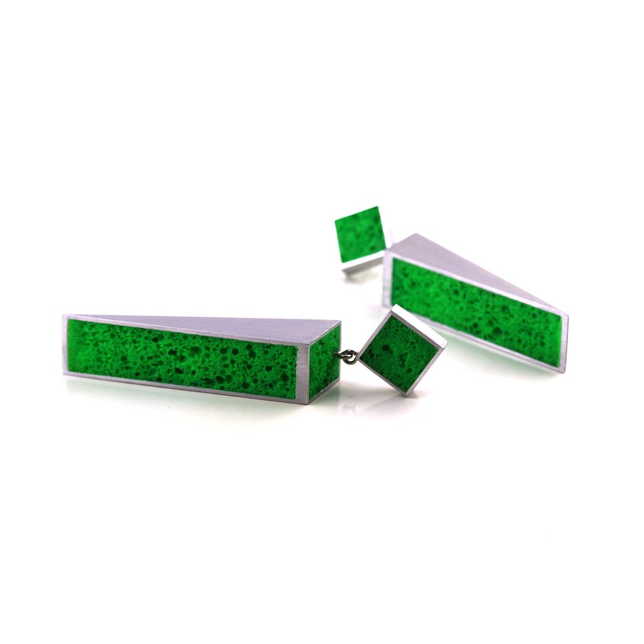 Guido Angeletti 31B - Earrings - Aluminum with green resin