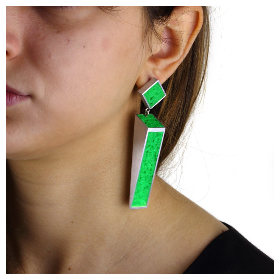 Guido Angeletti 31D - Earrings - Aluminum with green resin