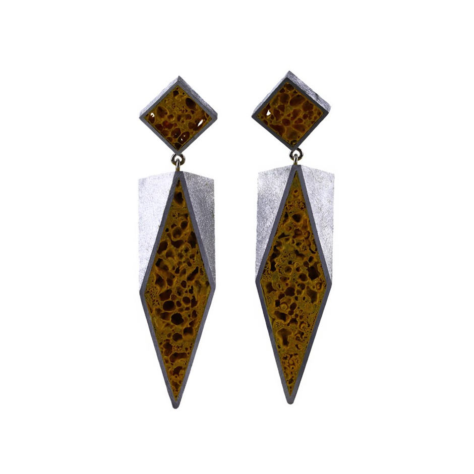Guido Angeletti 32A - Earrings - Aluminum with yellow resin