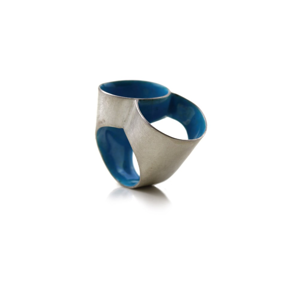 Carola Bauer 26A - Ring - Silver and light blue enamel
