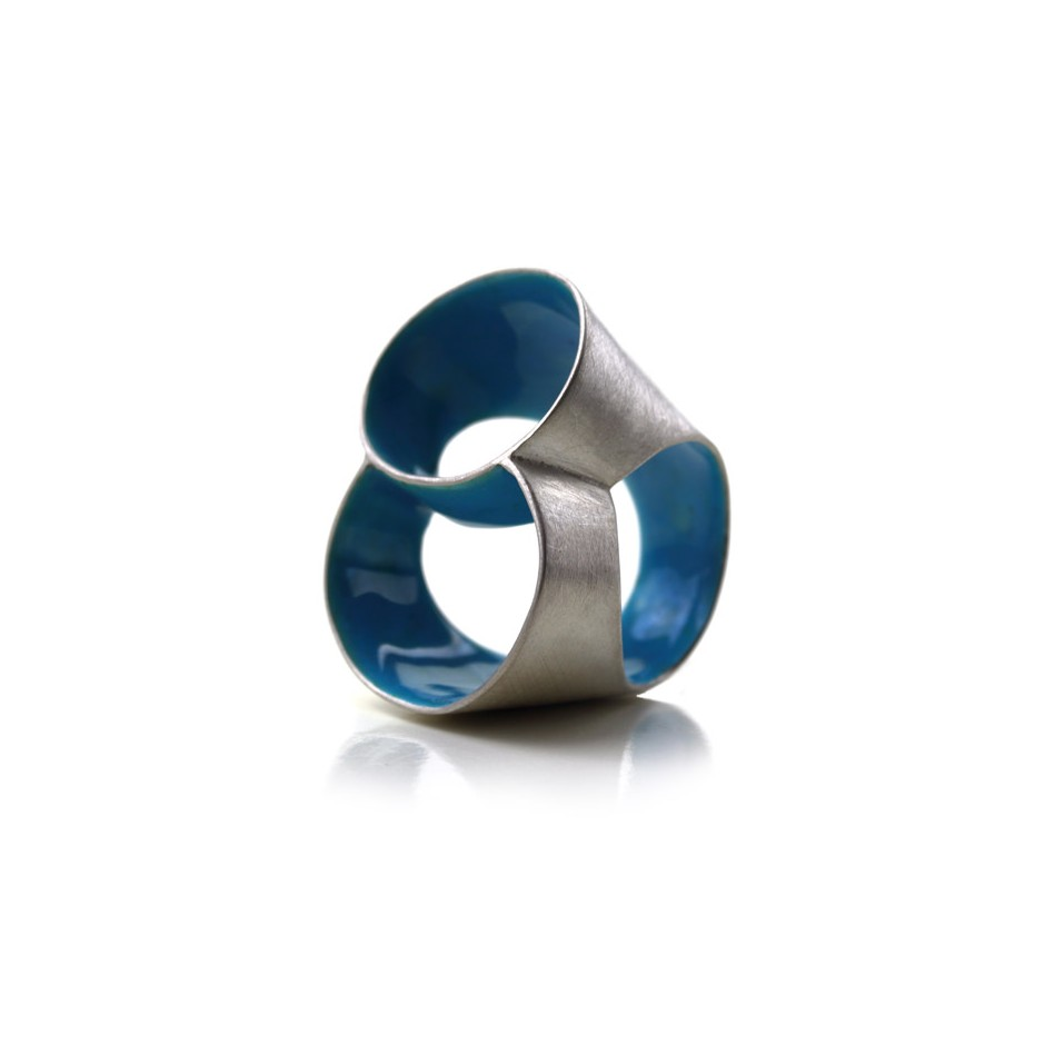 Carola Bauer 26B - Ring - Silver and light blue enamel