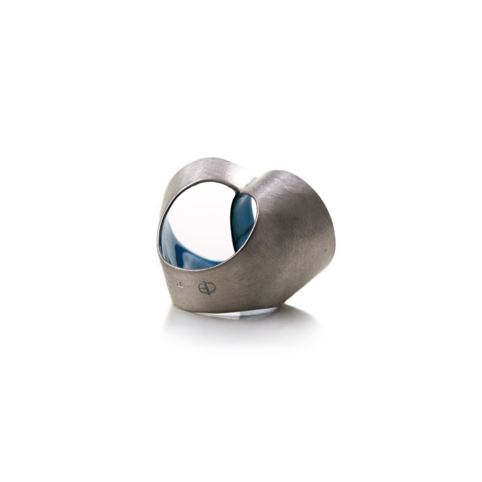 Carola Bauer 26C - Ring - Silver and light blue enamel