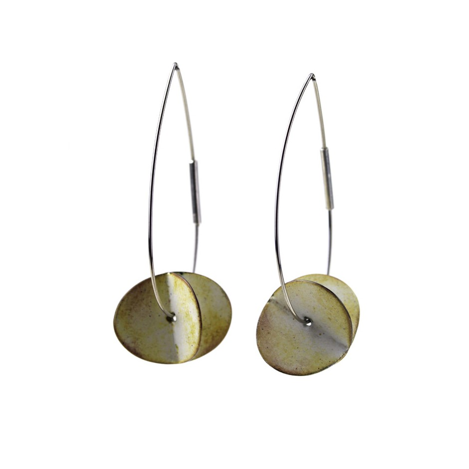 Carola Bauer 28A - Earrings - Silver and white enamel