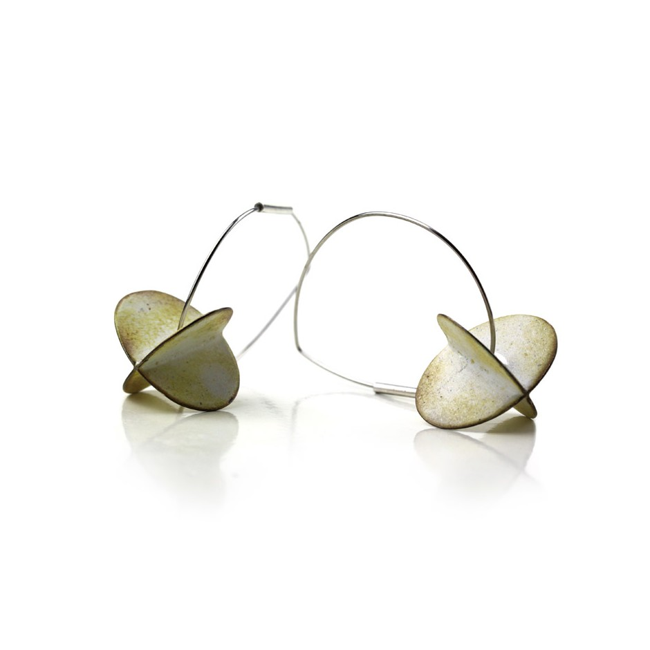 Carola Bauer 28C - Earrings - Silver and white enamel