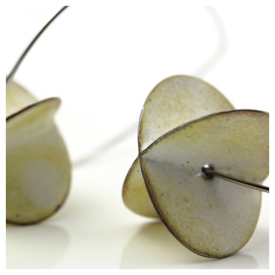 Carola Bauer 28D - Earrings - Silver and white enamel