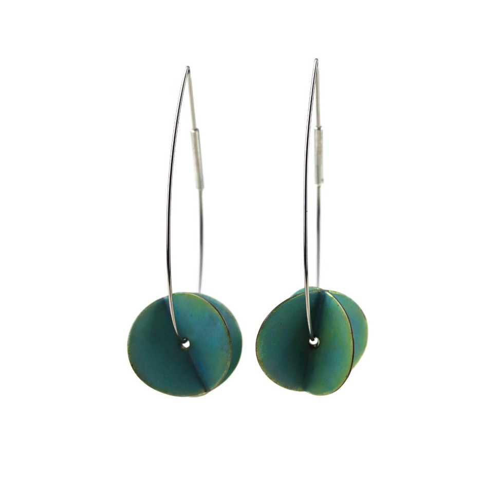 Carola Bauer 29A - Earrings - Silver and light blue enamel