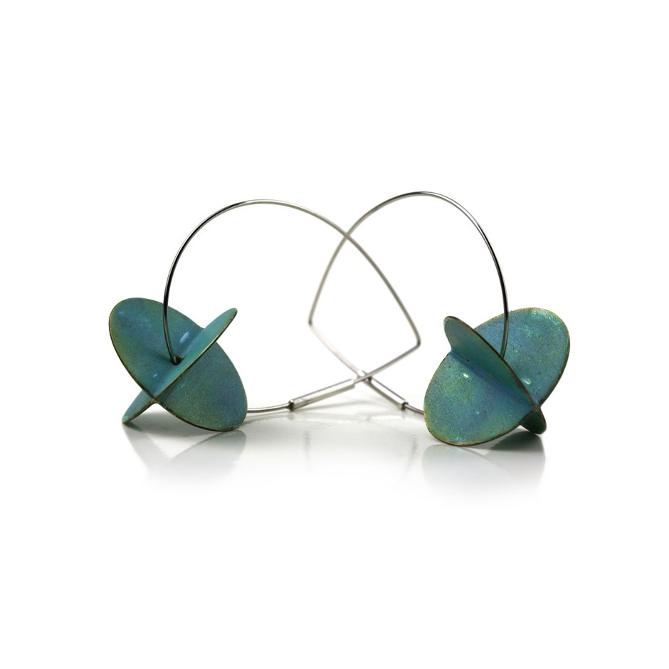 Carola Bauer 29B - Earrings - Silver and light blue enamel