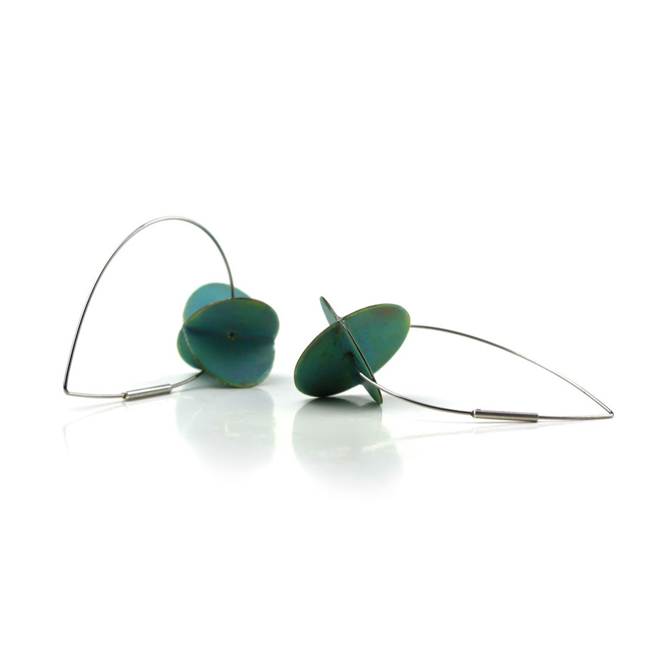 Carola Bauer 29C - Earrings - Silver and light blue enamel