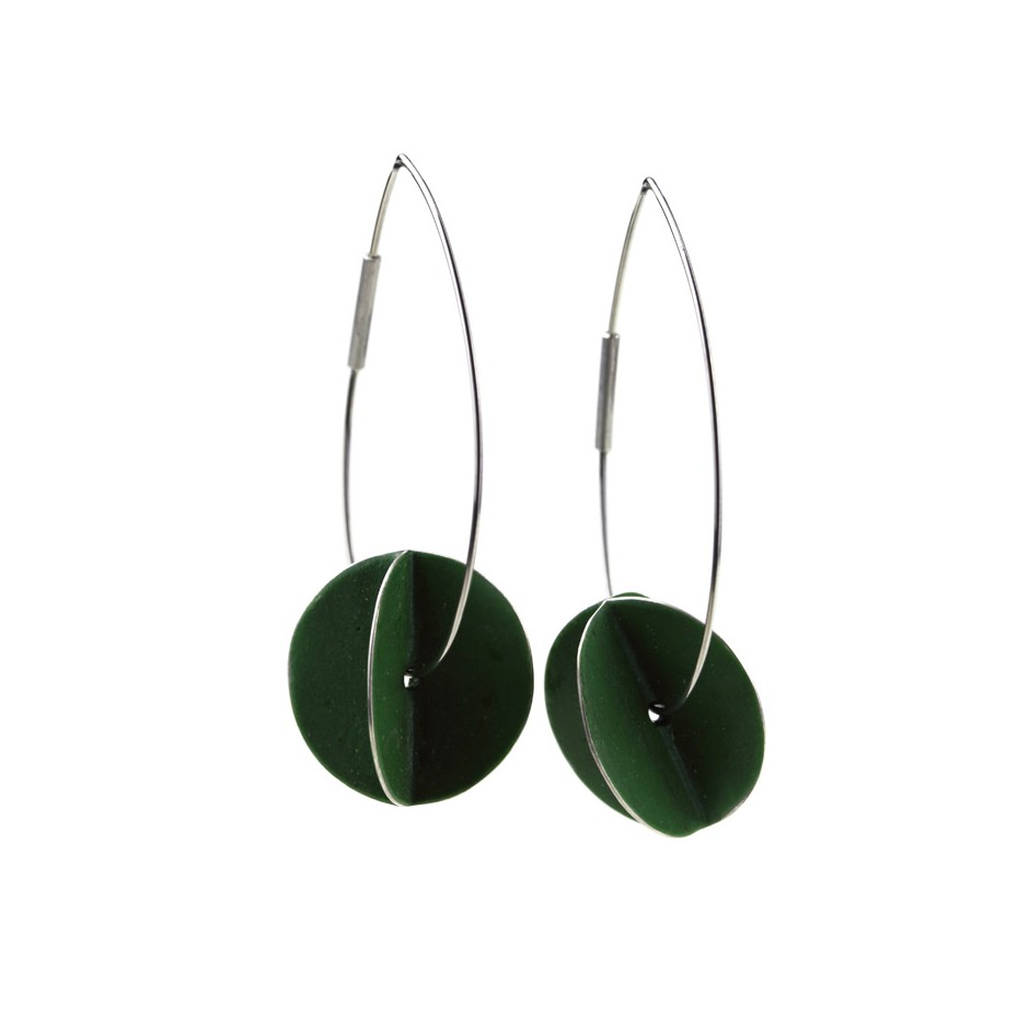 Carola Bauer 30A - Earrings - Silver and green enamel