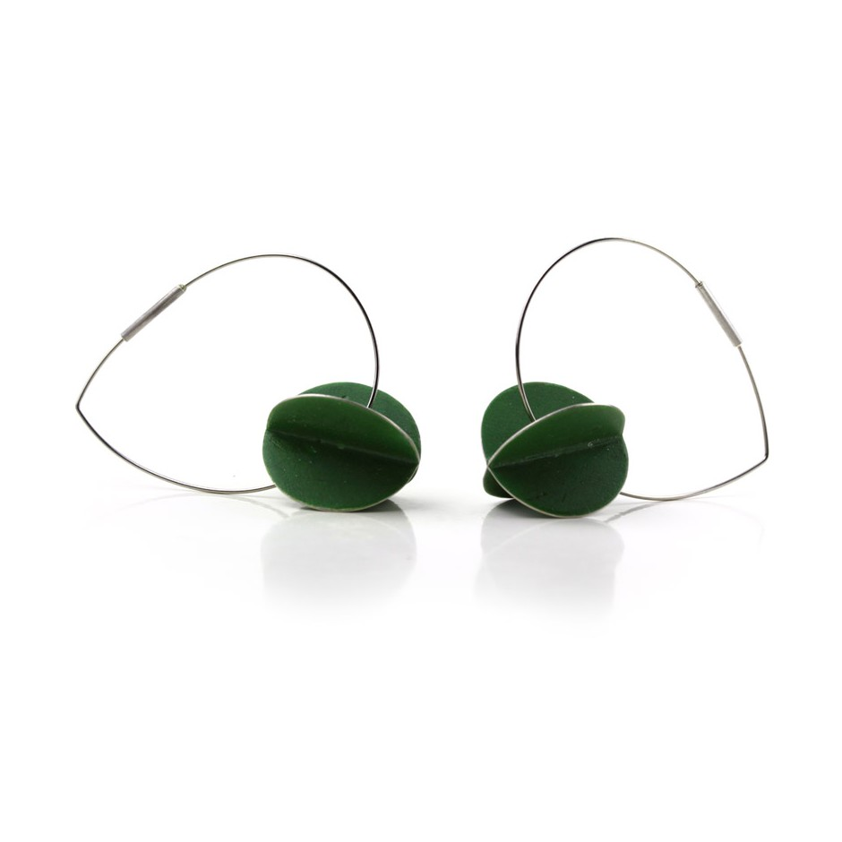 Carola Bauer 30B - Earrings - Silver and green enamel