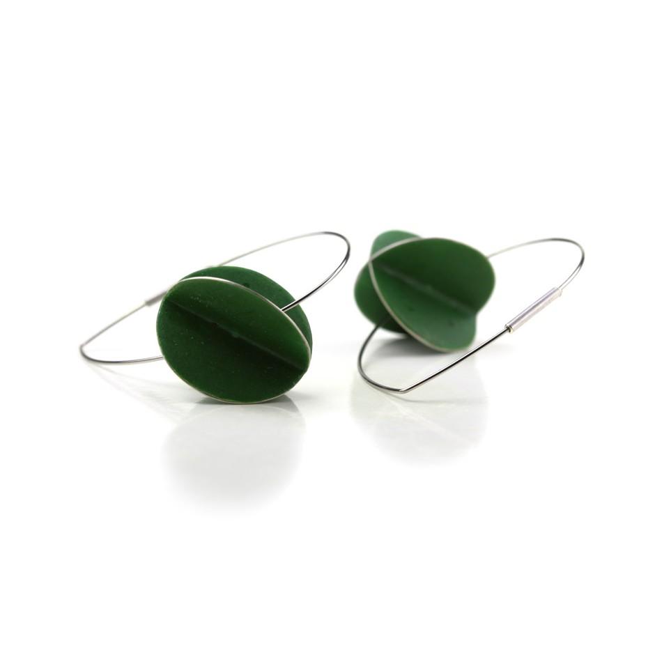 Carola Bauer 30C - Earrings - Silver and green enamel