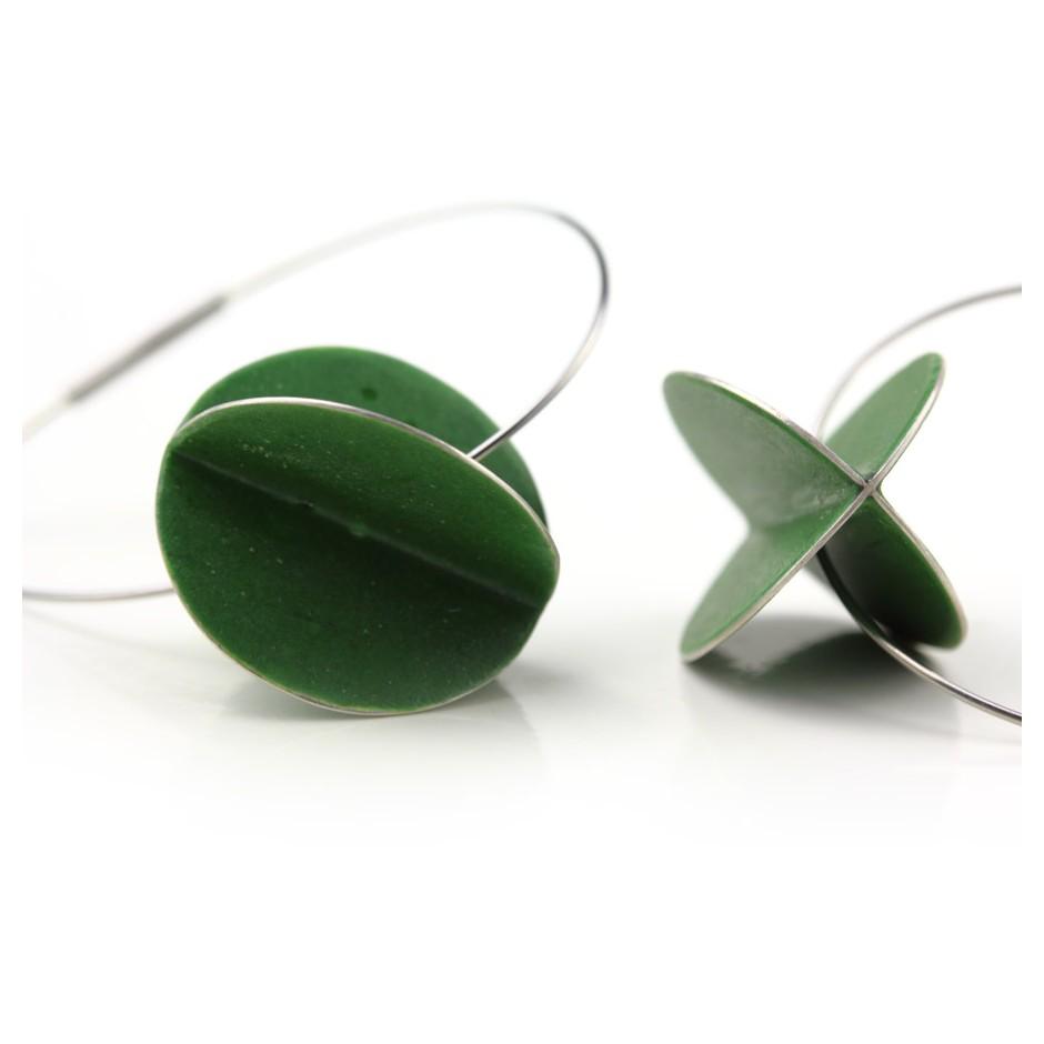 Carola Bauer 30D - Earrings - Silver and green enamel