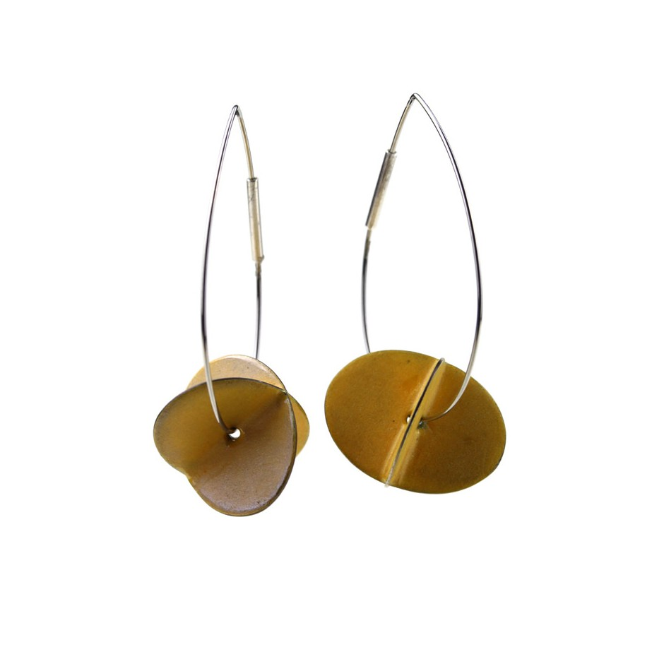 Carola Bauer 31A - Earrings - Silver and yellow enamel