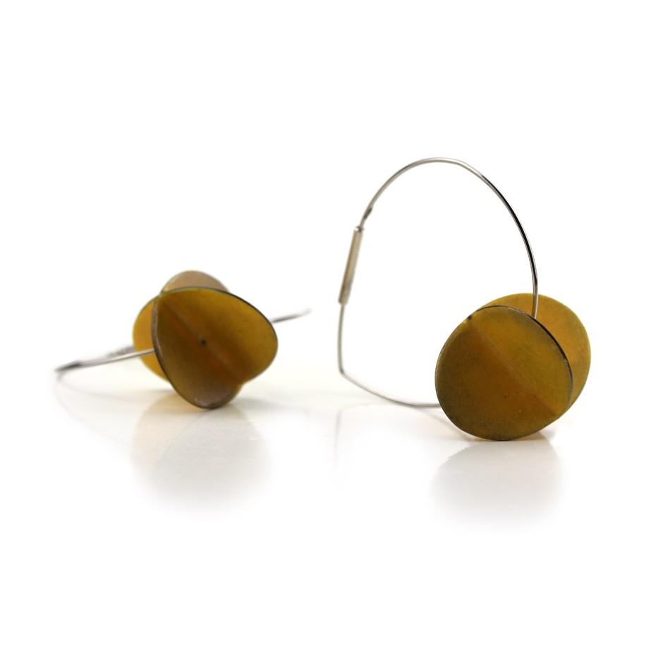 Carola Bauer 31B - Earrings - Silver and yellow enamel