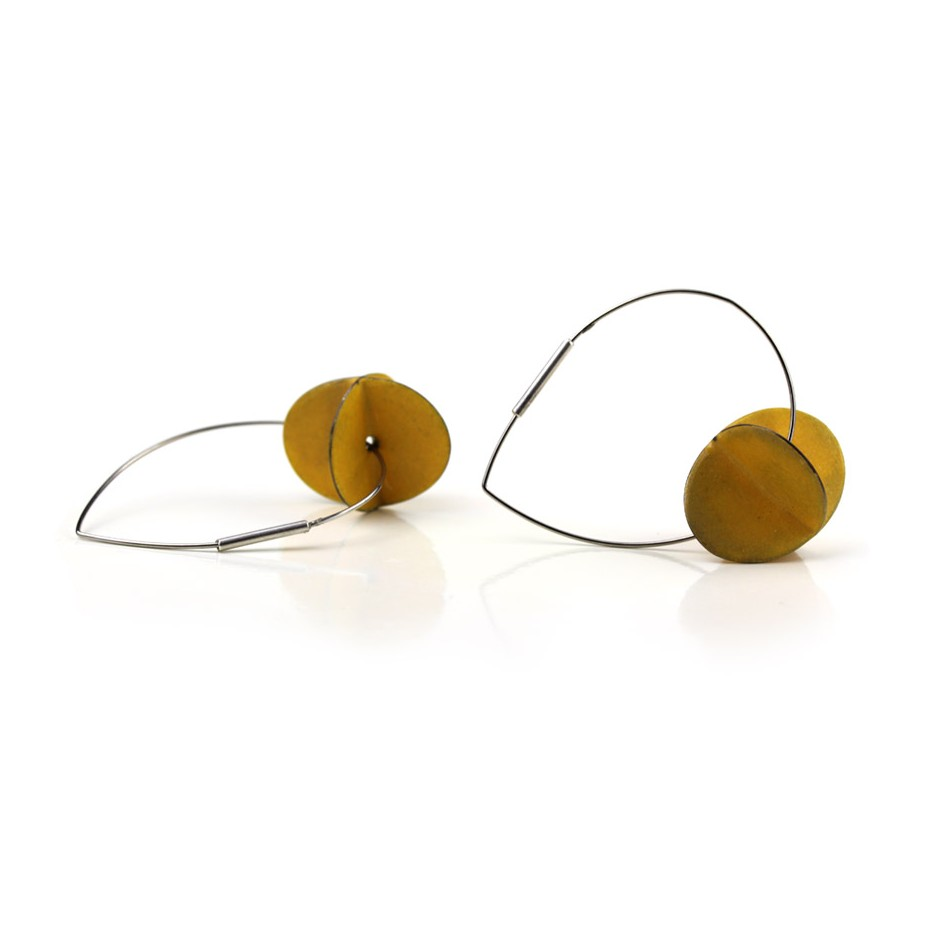 Carola Bauer 31C - Earrings - Silver and yellow enamel