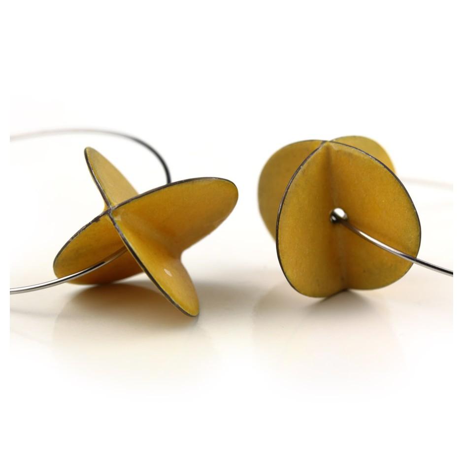 Carola Bauer 31D - Earrings - Silver and yellow enamel
