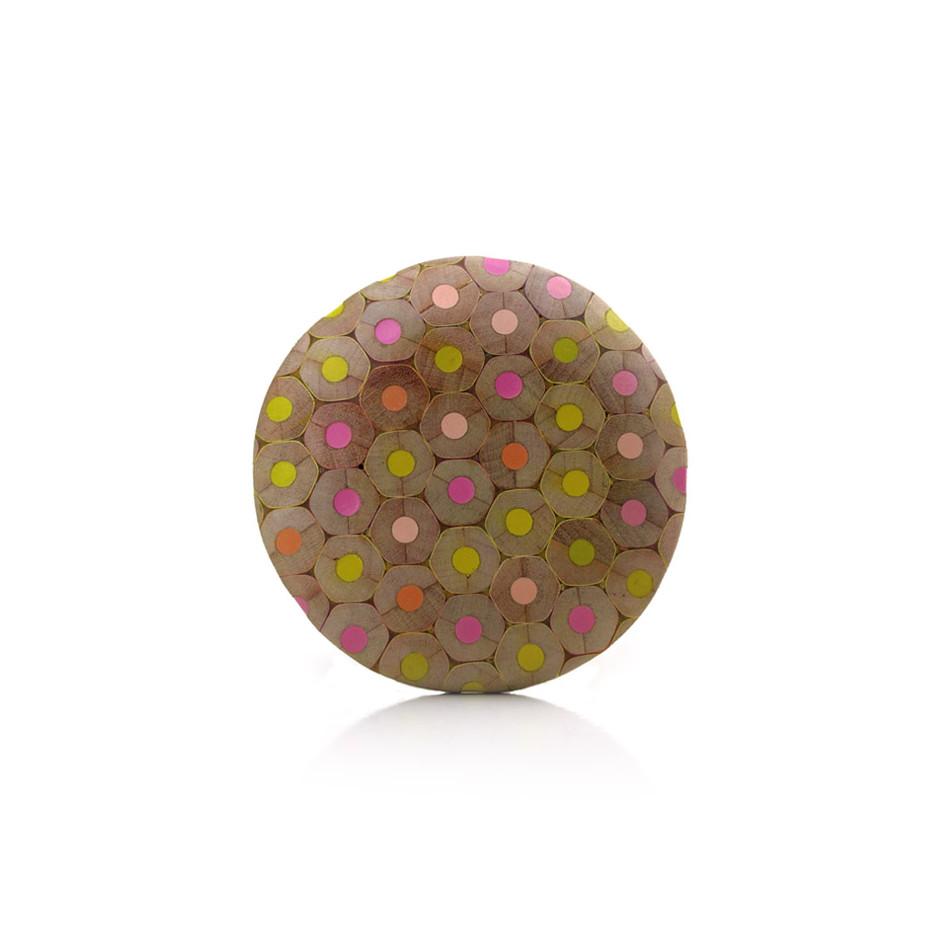 Maria Cristina Bellucci 22A - Brooch - colored pencils, wood, silver
