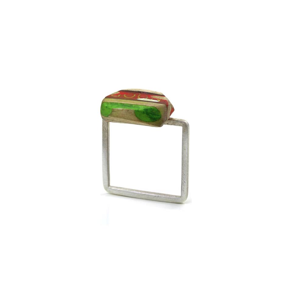 Maria Cristina Bellucci 27A - Ring - Coloured pencils, wood and silver