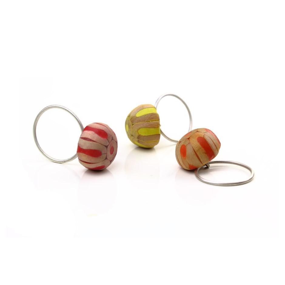 Maria Cristina Bellucci 29A - Ring - Coloured pencils, wood, silver