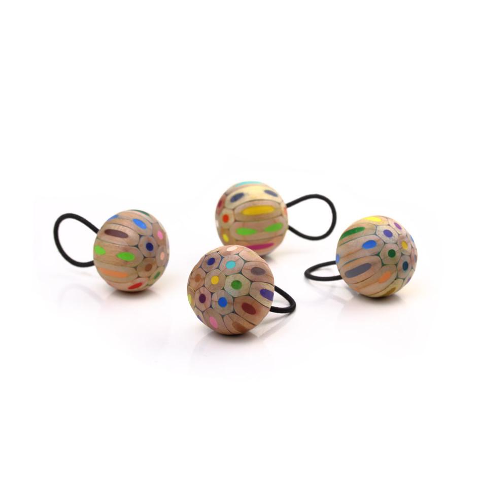 Maria Cristina Bellucci 30A - Ring - Coloured pencils, wood and elastic thread