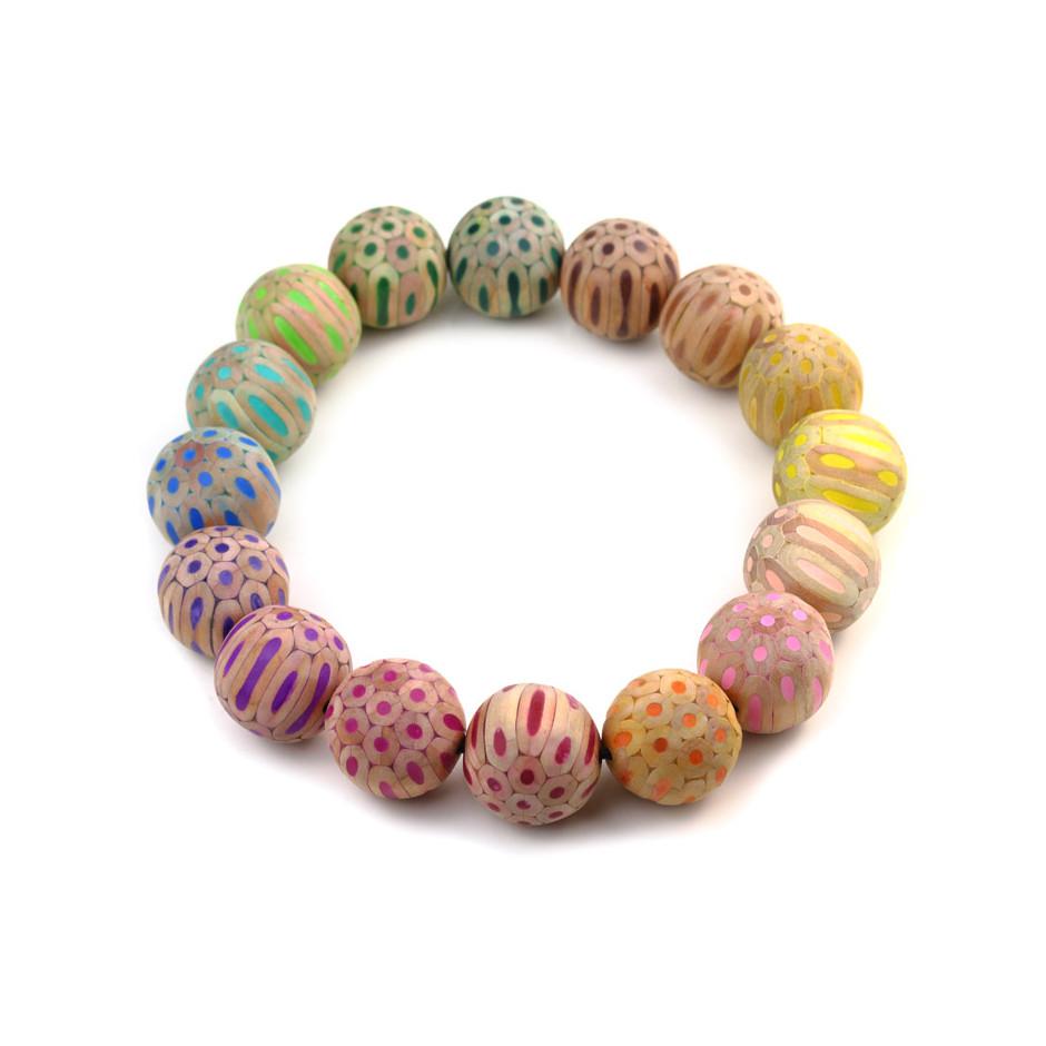 Maria Cristina Bellucci 32A - Necklace - Coloured pencils, wood, elastic thread and magnet closure